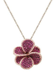 Effy Jewlery Jardin Bloom Ruby and Diamond Pendant, « Holiday Adds