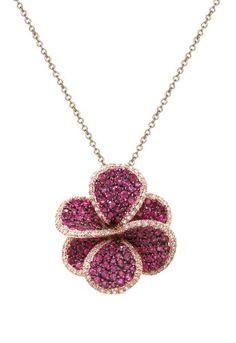 Effy Jewlery Jardin Bloom Ruby and Diamond Pendant, « Holiday Adds