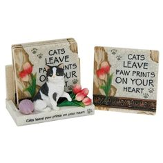 Gorgeous 'Cats leave paw prints on your heart' 4 coaster set with stand Cat Lover Gifts, Cat Lovers, Cat Coasters, Coaster Set, Your Heart, Leaves, Paw Prints, Cats, Classic