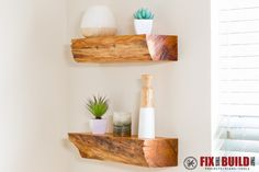 Turn firewood into DIY floating shelves with invisible mounting hardware. Each rustic shelf is one of a kind and a conversation starter. Full video inside!