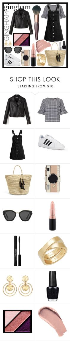 """#Gingham dress"" by evie0611 ❤ liked on Polyvore featuring Miss Selfridge, adidas, Sensi Studio, Kate Spade, Prada, MAC Cosmetics, Cartier, Kenneth Jay Lane, OPI and Elizabeth Arden"