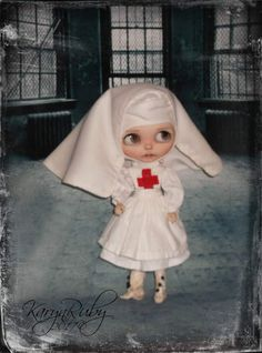 Blythe   1900s   Red Cross Nun Nurse  3 Piece Outfit  by KarynRuby