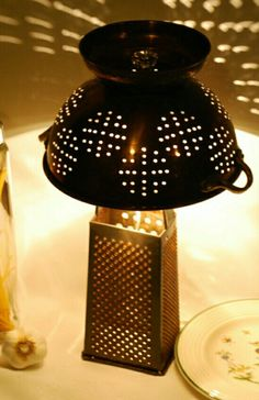 Cheese grater colander lamp