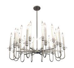 Twenty four light nickel chandelier with glass disk detail.