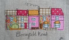 Bloomfield Road, Chatterton Village - framed freestyle machine embroidery