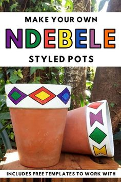 Add a little African magic to your garden with these gorgeous Ndebele planters that take less than 10 minutes to make. The full tutorial includes a set of free printables to make your own. #ndebelepattern #ndebeleart #ndebeleplanter #acraftymix #localislekker #DIYPlanter Diy Planters, Planter Boxes, Planter Ideas, Home Crafts, Fun Crafts, New Project Ideas, Love Challenge, Make Your Own, How To Make