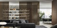 Porte per interni scorrevoli in vetro e alluminio, librerie, cabine armadio, complementi, produzione | Rimadesio