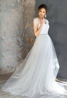 FLOREANA / tulle exclusive unique wedding dress dot bridal
