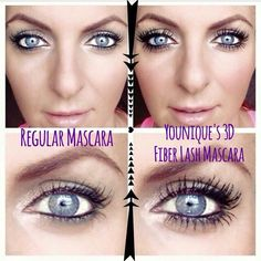 Amazing before and after pic! These are not fake lashes. 3D Fiber Lashes are made from green tea fibers and go on just like mascara. They are safe for contact lens wearers, water-resistant and yet remove easily with any face wash and water. Order here: https://www.youniqueproducts.com/ginasexylashes