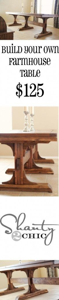 DIY Dining Table ~ Triple Pedestal Farmhouse - go green - instead of making top, repurpose old door & use salvaged wood for base - Click image to find more DIY & Crafts Pinterest pins