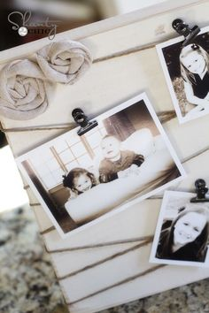 photo board using wood and twine - would look great on a shelf!
