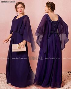 10% off now Custom Elegant Purple Formal Long Chiffon Evening Dress Beaded Neck with Cape Sleeves High Quality at GemGrace. Click to learn our pro custom-made service for wedding dress, formal dress. View Evening Dresses for more ideas. Stable shipping world-wide. Mother Of The Bride Looks, Chiffon Evening Dresses, Affordable Dresses, Dress Formal, Custom Dresses, Dresses Online, Cape, Fashion Dresses, Gowns