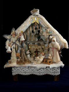 christmas house 1 Antique Christmas Decorations, Vintage Christmas Images, Miniature Christmas, Christmas Past, Primitive Christmas, Christmas Items, Christmas Crafts, Christmas Houses, German Christmas