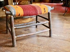 Our Camp Stool In Hickory And Kilim | Handcrafted By Darkbrook Rustic Goods  | Keene,
