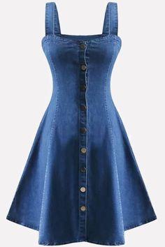Blue Square Neck Sleeveless Button Up y A Line Denim Dress - denim - Denim Fashion Cheap Dresses, Casual Dresses, Day Dresses, Summer Dresses, Denim Dresses, Womens Denim Dress, Denim Fashion, Look Fashion, Fashion Outfits