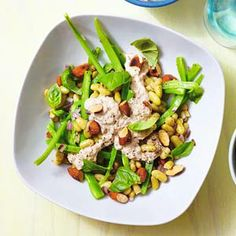 Beansalad with tuna and almonds Bean Salad, Almonds, Soup And Salad, Tuna, Potato Salad, Salad Recipes, Salads, Paleo, Beans