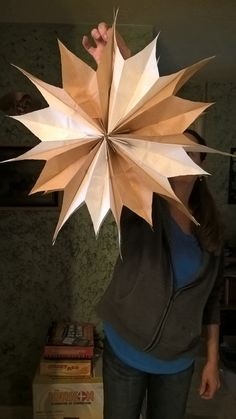 Paper Bag Star. Hanging decor for rustic wedding . Brown and white paper lunch sacks from WalMart!Cheap and Easy