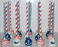 Nautical Whale & Anchor Cake Pops ~ NutMeg Confections Nautical Cake Pops, Nautical Birthday Cakes, Nautical Party, Nautical Wedding, Camo Wedding, Baby Boy 1st Birthday, First Birthday Parties, First Birthdays, Baby Shower Themes