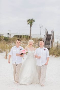 All the men in this beautiful Panama City Beach Wedding were wearing Linen Monaco Suits from Island Importer! (Photo Credit: Wynona Benson Photography)