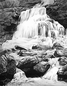 Title: Waterfall Artist: Aaron Spong Medium: Drawing - Graphite On Paper Description: Graphite drawing of a waterfall found along the route to Colorado 14ers Kit Carson Peak and Challenger Point in the Sangre de Cristo mountain range. (2014)