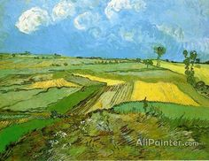 Vincent Van Gogh Wheat Fields At Auvers Under A Cloudy Sky oil painting reproductions for sale