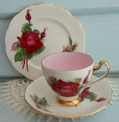 Pretty Vintage DELPHINE Fine Bone China Trio Tea Cup Saucer Plate-Red Rose
