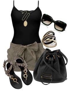 shorts and black tank by missyalexandra on Polyvore via http://thefashionlovers.com/