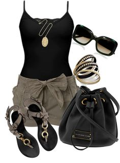 """shorts and black tank"" by missyalexandra on Polyvore"