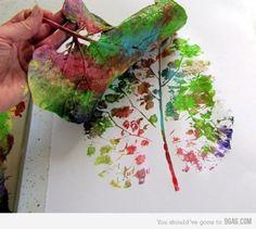 rainbow leaf print
