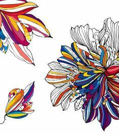 Fleur trait couleur
