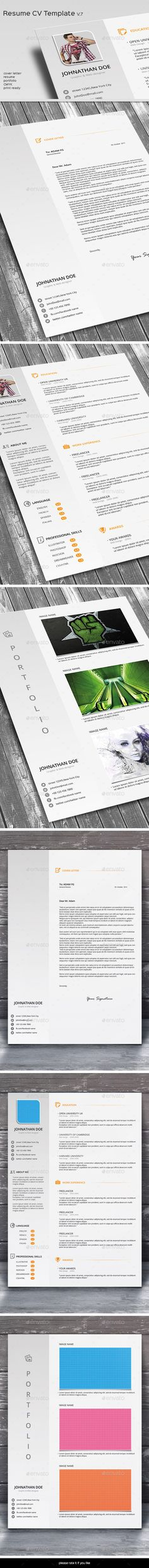 Simple CV / Resume Template \u2014 Photoshop PSD #short cv #blue