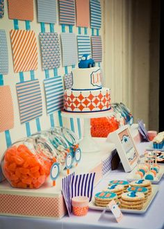 What an amazing, easy back drop! - made with paper and ribbon- Love the colors!
