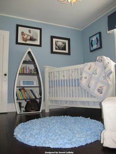 Nautical room | Project Nursery - love the bookshelf and bedding