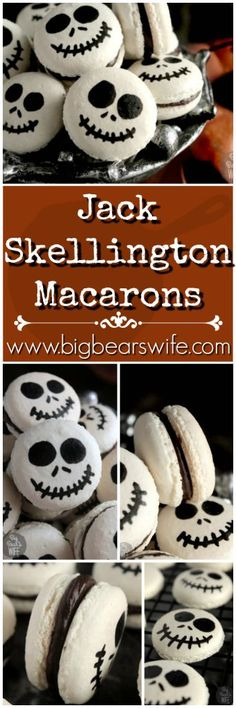 Jack Skellington Macarons --- No need to be afraid of these Jack Skellington Macarons! The pumpkin king might try to act creepy but there is nothing scary about these sweet little treats!
