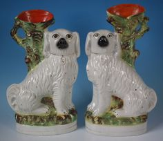 Pair Staffordshire spaniel spill vases.... I WANT THESE!!!!