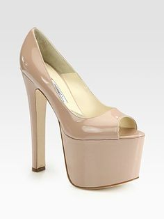 If you can walk more than five steps in these, I fucking SALUTE you.    Brian Atwood Alesha Patent Leather Peep Toe Platform Pumps