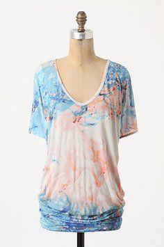 d636408577aa31 Blue White Peach Anthropologie Large Tee Shirt Size 12 (L)