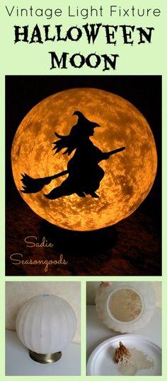 Sadie Seasongoods: salvaged ceiling light fixture full moon Halloween witch DIY…
