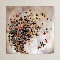 'Butterflies on Pale Ochre' Graphic Art Print on Canvas
