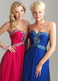 GORGEOUS Royal Blue and Fuchsia Pink Strapless Evening Gowns - Prom Dresses 2013 - RissyRoos.com - Night Moves 6642