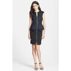 Ted Baker London 'Jamthun' Structured Peplum Cotton Blend Sheath Dress ($295) ❤ liked on Polyvore featuring dresses, black, peplum dress, shiny dress, sheath dress, ted baker and zipper dress