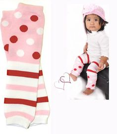 (#12) Pink Polka dots & stripes baby leg warmers for boy or girl by My Little Legs $7.50