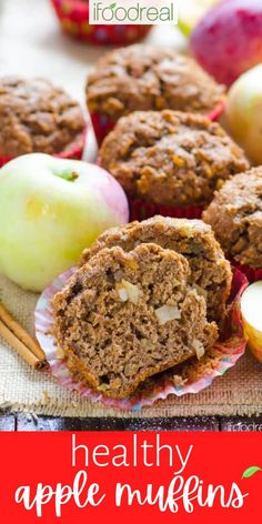 These Healthy Apple Muffins combine whole wheat flour (or spelt flour), apples, applesauce, and warm fall spices – topped off with a crunchy cinnamon-sugar topping for a perfectly fluffy, moist seasonal breakfast or snack muffin. Better yet, though, you can enjoy these without ruining your diet as they're naturally sweetened with dates! Simple Muffin Recipe, Healthy Muffin Recipes, Healthy Muffins, Healthy Baking, Healthy Desserts, Pear Recipes, Fruit Recipes, Real Food Recipes, Baking Recipes