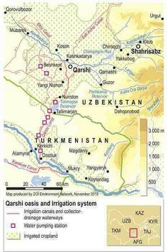 Map of Qarshi oasis and irrigation system