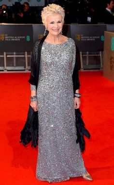 Julie Walters from 2015 BAFTA Film Awards: Red Carpet Arrivals The actress' movie, Paddington, is nominated in two categories. Imelda Staunton, Holliday Grainger, Julie Walters, Yoko London, British Academy Film Awards, Haute Couture Dresses, White Gowns, Silver Dress, Celebs