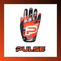 a pulse kids youth bmx mtb gloves pulse blizzard neon orange black gloves