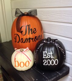 I need a big pumpkin to write Mattingly! But I love this idea of three different colors and the ribbon.  Very cool.