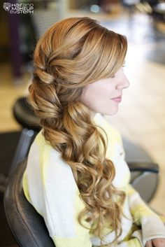 #Side-Swept Bridal Hair for country bride... Budget wedding ideas for brides, (why this would be a budgeting do I have no idea, the wrapped curl technique can be as complicated as French braiding for stylists who don't know the concept, or looks can be deceiving !)