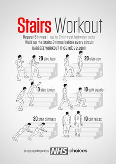 Instructions : Walk up the stairs 3 times before every set. Repeat each move with no rest in between until the set is done, rest up to 2 minutes and repeat the set again 5 times. Download High Resolution .PDF poster