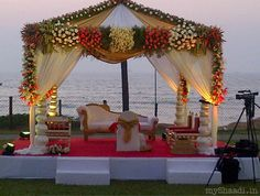 ' gets into every detail of the wedding decor right from choosing a theme, stage setups, vidhi mandaps et al. Wedding Set Up, Desi Wedding, Wedding Stage, Trendy Wedding, Goa Wedding, Cancun Wedding, Wedding Church, Wedding Ideas, Asian Wedding Themes